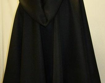 "Black Wool Cloak  with Cape 24""  to 34"" Long Cloak~~ Cloak Capes Wool Cloak~~Hooded Cloak~Medieval Cloak Wool~Costume  Grey@sohoskirts"
