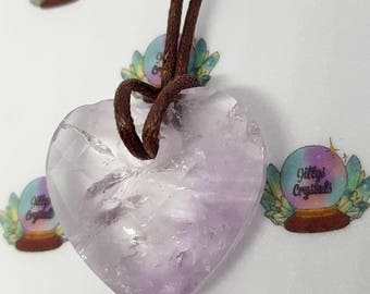 Amethyst Crystal Necklace, Amethyst Necklace, Loveheart Necklace, Heart necklace,  Crystal Necklace, Loveheart Necklace, Mothers Day