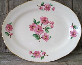 Vintage Serving Plate, Oval Serving Platter, Mid Century Platter, Pink Floral Dishes, Homer Laughlin Dishes, Apple Blossom Liberty Pattern
