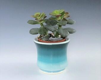 "Small Ceramic Planter, Teal Succulent Planter Pot, Porcelain Plant Holder, Indoor Planter, Pottery Planter With 2"" Removable Plastic Pot"