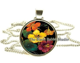 Nasturtiums flowers Pendant, Nasturtiums Necklace, Flower Jewelry, key chain key ring key fob
