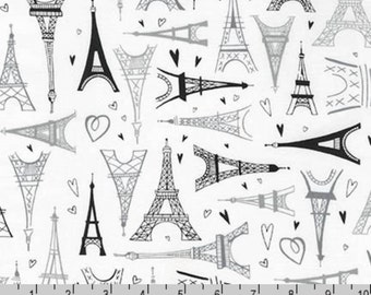 Paris Adventure - Eiffel Tower White by Margaret Berg from Robert Kaufman