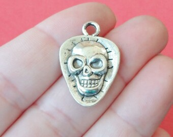 8 Skull on Guitar Pick Charms 17.5x25.5x3.5mm, Hole:Approx 3mm