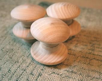 DIY Birch End Grain Wooden Knobs      2 inch Set of 6