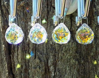 4 pc. Crystal Aurora Borealis 30mm Crystal Ball, Suncatcher Prism,  Feng Shui, Crystal Prism Ball, Christmas Ornament, Chandelier Balls
