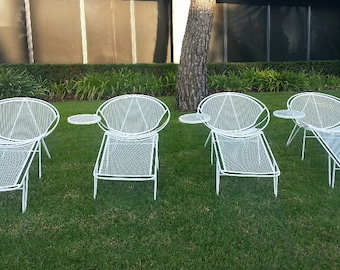 SALTERINI 2-3 Pc Lounge Chair Removable Footrests & Side Tables Mid Century Modern Patio Set Wrought Iron Woodard Umanoff Keal digsmodern