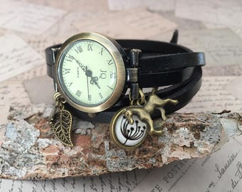 Woman's watch for horseback riding nature theme black leather
