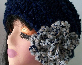 HAT WOMEN KNITTED  Hand knitted womans winter hats  Beehive with Bling  Large Removeable Flower  Dark Blue