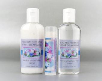 Personalized. Happy Mother's Day. 1 oz lotion/sanitizer/lip balm set