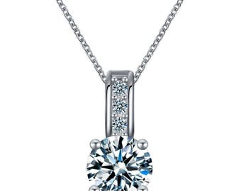 18KT White Gold Plated Solitaire CZ Pendant
