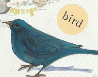 Whimsical bird print