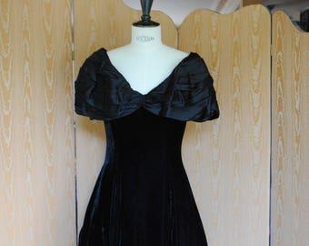 1980's black velvet evening dress