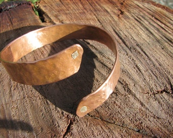Copper bangle with silver rivets