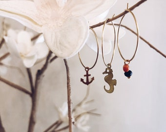 Brass hoop earrings with sea, coral and onyx pendants