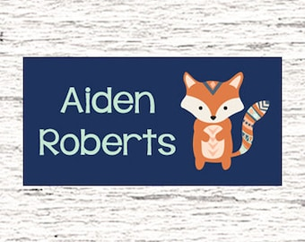 40 Waterproof Baby Bottle Labels - Dishwasher Safe - Sippy Cup Labels - Daycare School Name Labels - Tribal Fox