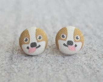 Corgi Fabric Button Earrings