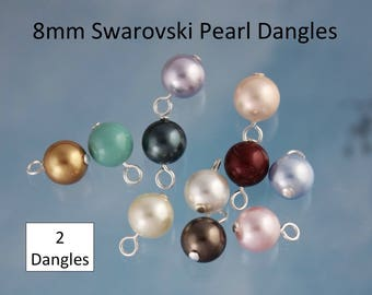 2 (Two) 8mm Swarovski Pearl Dangles- silver, gold, gunmetal, antique brass or copper plated loops - simple loop wire wrapped - DIY Jewelry