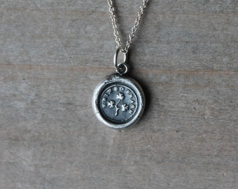 Erin go bragh-Shamrock wax seal fine silver oxidized charm