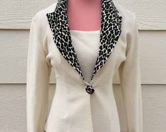 Leopard collar cuffs 80s cream vintage blazer jacket / size large