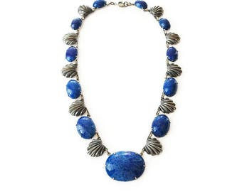 Art Deco Silver Lapis Glass Necklace, Blue Glass, Silver Pot Metal, Scalloped Edge, Embossed Design, Art Deco Jewelry, Antique Jewelry