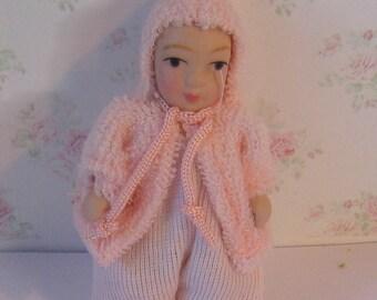 Dollhouse baby, nursery baby, baby in pink,  twelfth scale dollhouse miniature