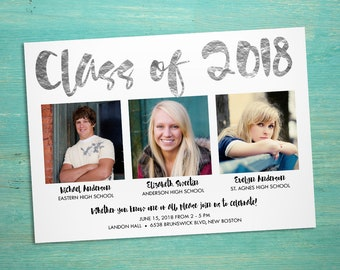 Combined graduation party invitation, graduation open house for more than one graduate, twins or triplets graduation party, class of 2018