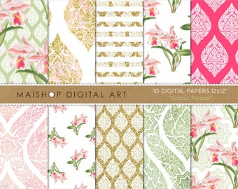 Floral Digital Paper 'Grand Palace' Scrapbook Paper Digital Download Backgrounds for Scrapbooking, Invitations, Stickers, Cards...