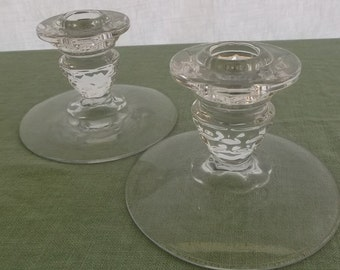 Vintage Candle Holder Pair Clear Glass Taper Holders