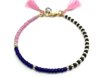 Pink Bracelet / Friendship Bracelet / Beaded Bracelet / Charm Bracelet/ Seed Bead Bracelet / Tassel Bracelet/ Dainty Bracelet / Gift for her