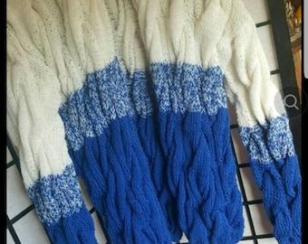blue white cardigan