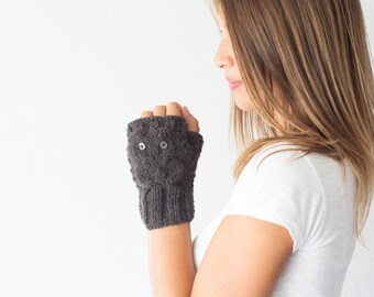 Sales Owl fingerless gloves dark grey wrist warmers hand warmers women's gloves half finger gloves wrist gloves texting gloves