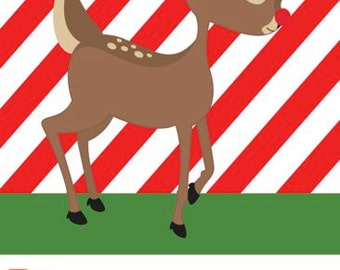 Red Stripe with Reindeer Holiday Gift Tag