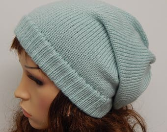 Knit women's slouch hat, handmade beanie, knitted winter hat, warm baggy hat,  knitted beanie, slouchy hat, CHOOSE COLOUR and SIZE
