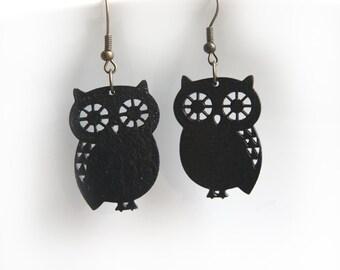 Black owl wooden earrings, earrings owl black, black earrings, owl jewelry