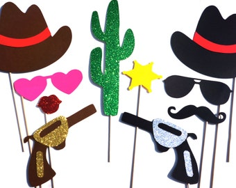Photo Booth Props - Cowboy and Cowgirl Props - 10 piece prop set - Birthdays, Weddings, Parties - GLITTER Photobooth Props