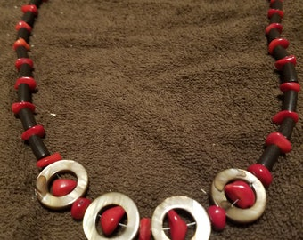 Coral and Mother of Pearl Ring Necklace