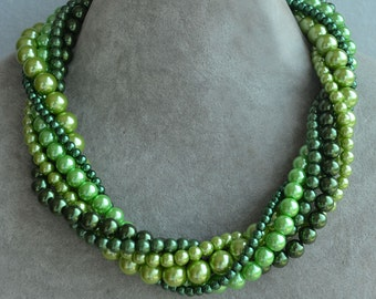 mixed color pearl necklace,six strands mixed green color scheme necklace,multicolor pearl necklace,cheap pearl necklace,faux pearl necklace