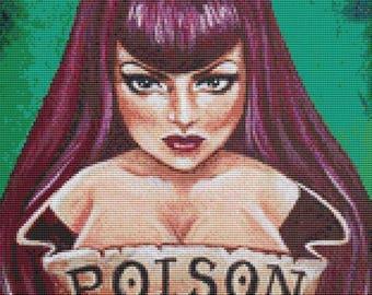 Cross Stitch Kit, Poison By Megan Mars, Modern Cross Stitch, Counted Cross Stitch Kit, Edgy Stitching Set, Point De Croix