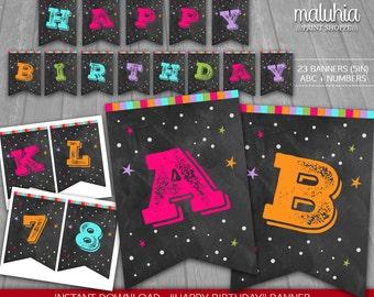 Chalkboard Birthday Banner - INSTANT DOWNLOAD - Chalkboard Digital Printable - Chalkboard Happy Birthday Girl Pennant