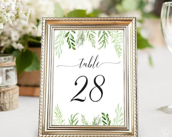Printable Wedding Table Numbers 1–40, Wedding Table Numbers, INSTANT DOWNLOAD, 5x7 and 4x6 sizes, Botanical Greenery