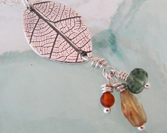 Silver Leaf Necklace with Amber, Apatite, and Tourmaline