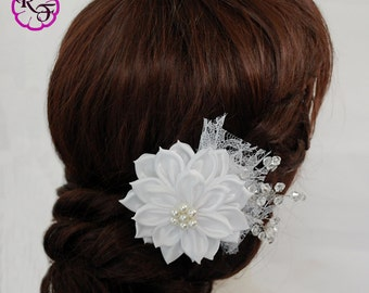 Bridal hair flower, white  flower, wedding hair clip, kanzashi flower hair clip, wedding hair flower, bridal fascinator, white hair clip