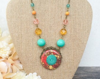Turquoise Flower Pendant Necklace, Coral Yellow Statement Necklace, Mexican Southwestern Assemblage Necklace