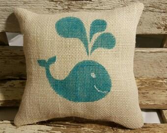 """Whale Burlap Stuffed Pillow Beach Blue Nautical Summer Pillow 8"""" x 8"""" Beach House Pillow"""