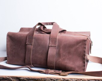 Leather Weekender bag duffle bag monogram weekender bag monogrammed overnight bag mens weekender bag leather hand stitched duffel bag brown