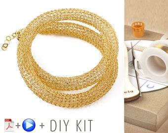 Crochet Pattern DIY kit - Wire Crochet Necklace Pattern - DIY Necklace KIT - Jewelry Making Kit - Necklace tutorial kit - Gift for Her