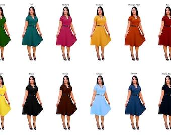 Short Sleeves Polyester Dresses