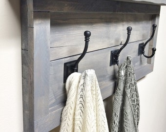 Rustic Wooden Entryway Grey Coat Rack, Rustic Wooden Shelf, Entryway Rack, Coat Rack, Rustic Home Decor, Rustic Furniture, Floating Shelf