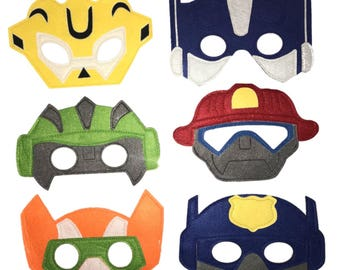 BOTS de sauvetage transformateurs fabriqués à la main en feutrine masque défini - 6 masques - anniversaire fête charges/faveurs/fournitures