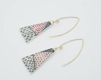 Tribal Statement Earrings, Geometric Polka dot Earrings, 14 Karat Gold Filled Triangle Earrings, Lightweight Modern Jewelry, Gift for Her